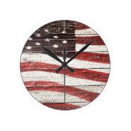 Painted American Flag on Rustic Wood Texture Wallclock