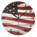 Painted American Flag on Rustic Wood Texture Clocks