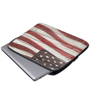 Painted American Flag on Rustic Wood Texture Computer Sleeve