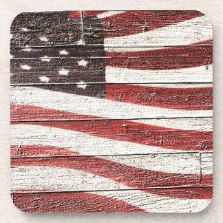 Painted American Flag on Rustic Wood Texture Beverage Coaster
