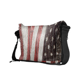 Painted American Flag on Rustic Wood Texture Courier Bag