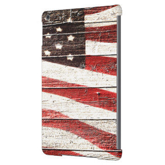 Painted American Flag on Rustic Wood Texture Cover For iPad Air