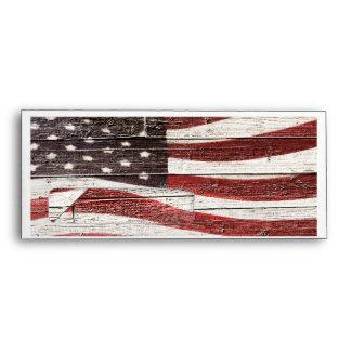 Painted American Flag on Rustic Wood Texture Envelope