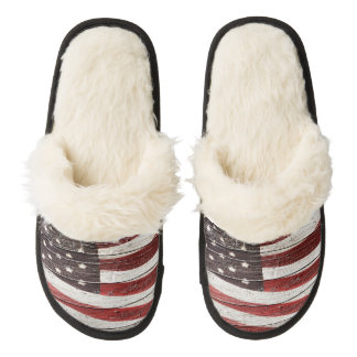 Painted American Flag on Rustic Wood Texture Pair Of Fuzzy Slippers