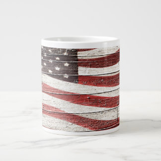 Painted American Flag on Rustic Wood Texture Giant Coffee Mug