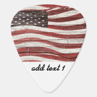Painted American Flag on Rustic Wood Texture Guitar Pick