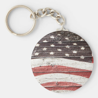 Painted American Flag on Rustic Wood Texture Keychain
