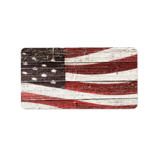 Painted American Flag on Rustic Wood Texture Label