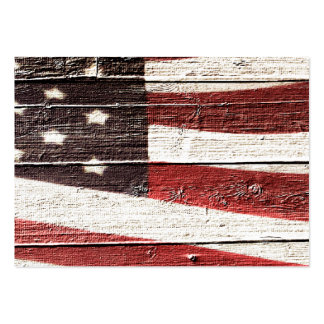 Painted American Flag on Rustic Wood Texture Large Business Card