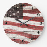 Painted American Flag on Rustic Wood Texture Large Clock