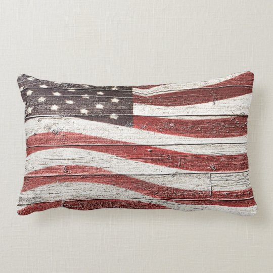 Painted American Flag on Rustic Wood Texture Lumbar Pillow