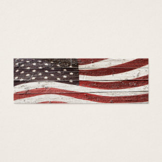Painted American Flag on Rustic Wood Texture Mini Business Card