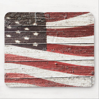 Painted American Flag on Rustic Wood Texture Mouse Pad
