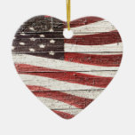 Painted American Flag on Rustic Wood Texture Double-Sided Heart Ceramic Christmas Ornament