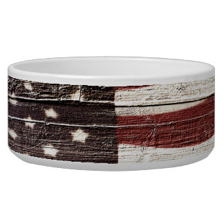 Painted American Flag on Rustic Wood Texture Pet Water Bowl