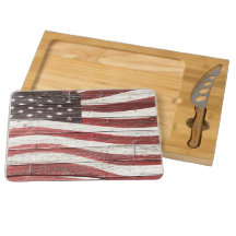 Painted American Flag on Rustic Wood Texture Rectangular Cheese Board