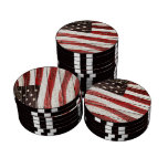 Painted American Flag on Rustic Wood Texture Poker Chip Set
