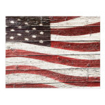 Painted American Flag on Rustic Wood Texture Post Cards