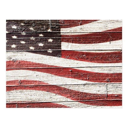 Painted American Flag on Rustic Wood Texture Postcard