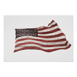 Painted American Flag on Rustic Wood Texture Poster