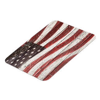Painted American Flag on Rustic Wood Texture Rectangular Photo Magnet