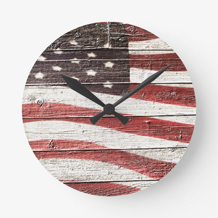 Painted American Flag On Rustic Wood Texture Round Clock Zazzle Com