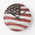 Painted American Flag on Rustic Wood Texture Round Wall Clock