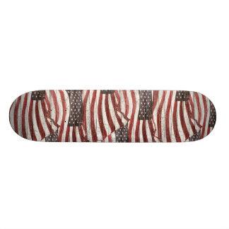 Painted American Flag on Rustic Wood Texture Skateboard