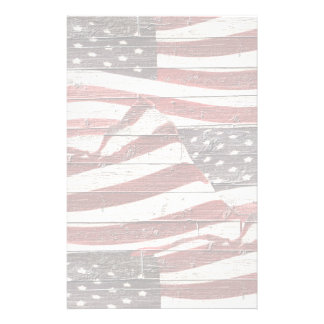 Painted American Flag on Rustic Wood Texture Stationery