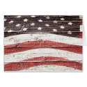 Painted American Flag on Rustic Wood Texture Stationery Note Card