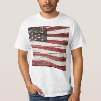 Painted American Flag on Rustic Wood Texture Tee Shirt