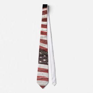 Painted American Flag on Rustic Wood Texture Tie