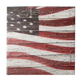 Painted American Flag on Rustic Wood Texture Small Square Tile