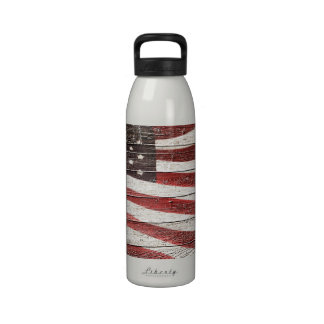 Painted American Flag on Rustic Wood Texture Reusable Water Bottle