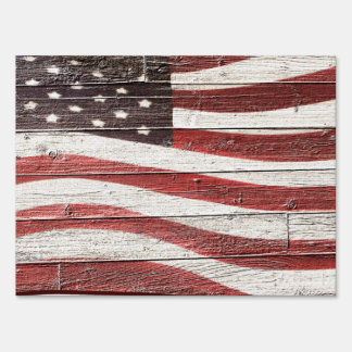 Painted American Flag on Rustic Wood Texture Yard Signs