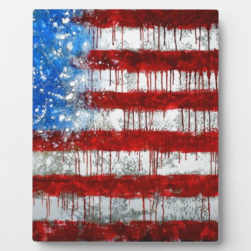 Painted American Flag Plaque