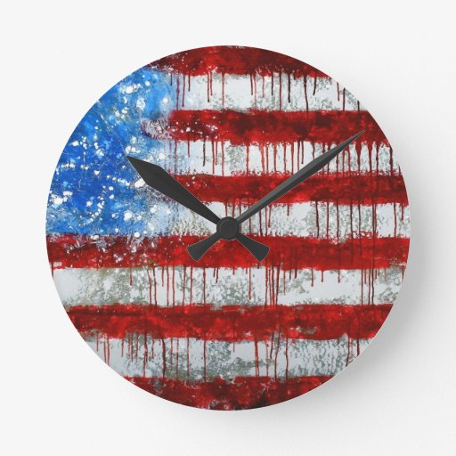 Painted American Flag Round Wall Clock