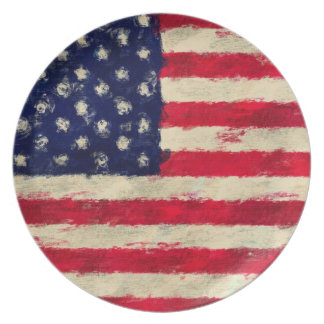 Painted American Flag Stars and Stripes Plate
