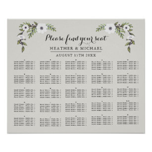 Alphabetical Wedding Seating Charts