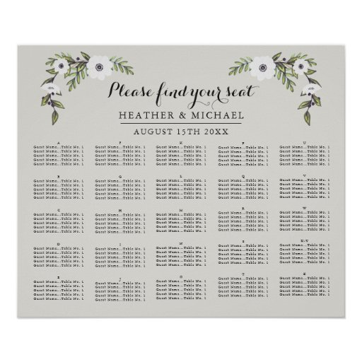 Painted Anemones - Alphabetical Seating Chart