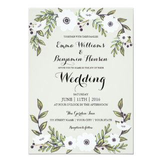 Exceptional Painted Anemones   Floral Wedding Invitation