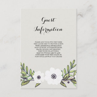 Painted Anemones - information card