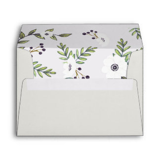 Painted anemones invitation envelope