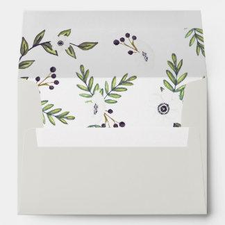 Painted anemones invitation envelope