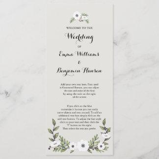 Painted Anemones Wedding Program