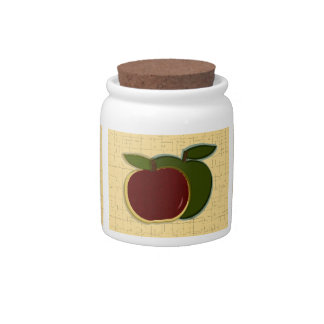Painted Apples Sugar Jar (gold textured) Candy Dish