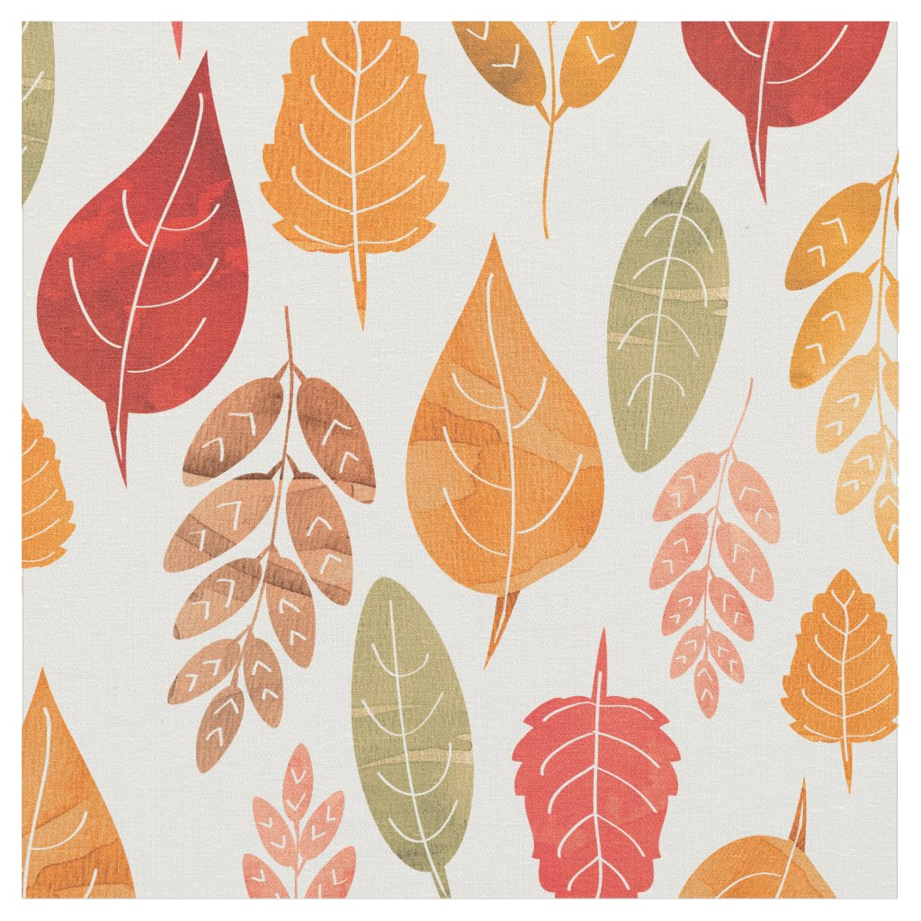 Painted Autumn Leaves Pattern Fabric