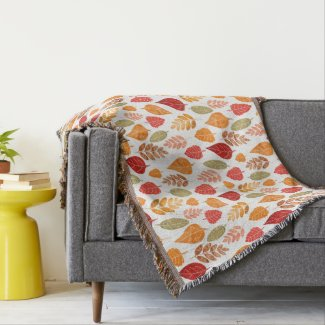 Painted Autumn Leaves Pattern Throw