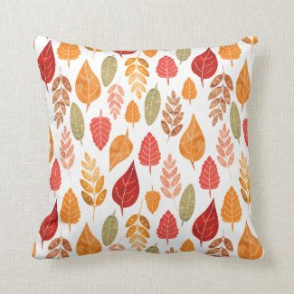 Painted Autumn Leaves Pattern Throw Pillow