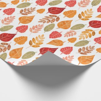 Painted Autumn Leaves Pattern Wrapping Paper